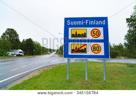 Norwegian Finnish Border With Traffic Shield And Advisory Speed Limits