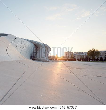 Heydar Aliyev Center. Designed By Zaha Hadid. Center Houses A Conference Hall, Gallery And Museum. B