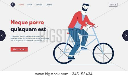 Bearded Man Riding Bike. Male Commuter Moving By Bicycle Flat Vector Illustration. Commuting, Lifest