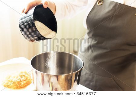 Preparation Dough Cooking, Pouring The Sugar In The The Metal Bowl. Pouring Sugar Into Saucepan. Coo