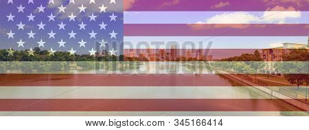 Rochester New York Panorama With A Usa Flag Composite