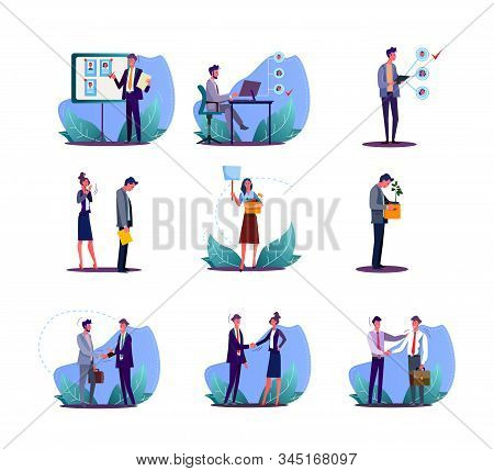 Set Of Office Employees Finding And Losing Job. Flat Vector Illustrations Of Employers Hiring And Fi