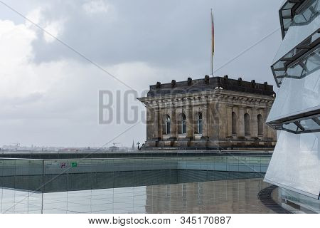 Roof Of The Bundestag Building, The Most Visited Parliament In The World, Historic Edifice In Berlin