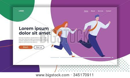 Business Colleagues Race. Man And Woman In Office Suits Running Together Flat Vector Illustration. C