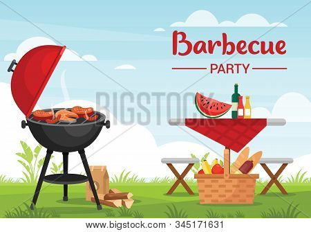 Barbeque Party Outdoors Colorful Flat Vector Illustration