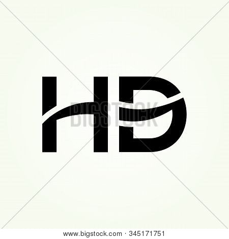 Letter Hd Logo Design Linked Vector Template With Black. Initial Hd Vector Illustration