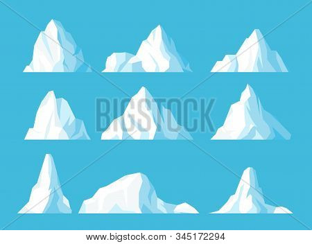 Icebergs In Ocean Flat Vector Illustrations Set