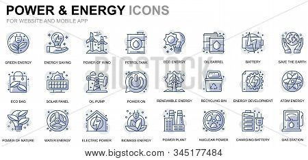 Simple Set Power Industry And Energy Line Icons For Website And Mobile Apps. Contains Such Icons As