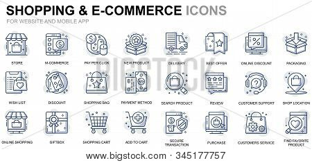 Simple Set Shopping And E-commerce Line Icons For Website And Mobile Apps. Contains Such Icons As De