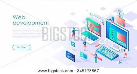 Modern Flat Design Isometric Concept Of Web Development For Banner And Website. Isometric Landing Pa