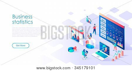 Modern Flat Design Isometric Concept Of Business Statistic For Banner And Website. Isometric Landing
