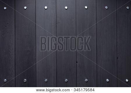 black wooden plank board background as texture surface