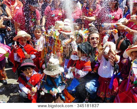 Cuenca, Ecuador-february 27,2019: Carnival In Cuenca. The Youngest Ones On The Parade - Childrens Of