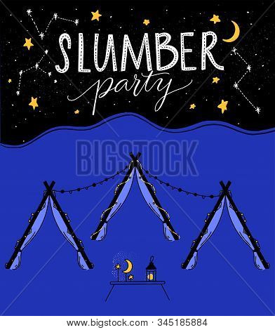 Slumber Party Illustration With Tree Teepee Tents, Night Sky With Hand Drawn Stars And Little Table