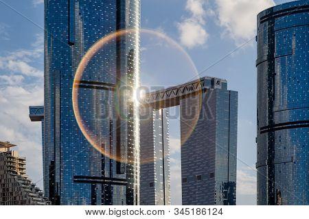 Abu Dhabi, Uae - January 11, 2020: Closeup On Modern Skyscraper In Al Reem Island In Abu Dhabi