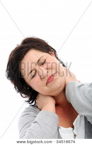 Woman Stretching Her Stiff Neck