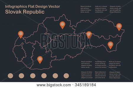 Infographics Slovakia, Slovak Republic Map Outline, Flat Design, Color Blue Orange Vector