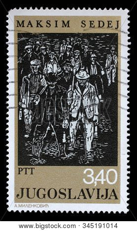 ZAGREB, CROATIA - JUNE 21, 2014: A stamp issued in Yugoslavia shows Workers, by Maksim Sedej, circa 1978.