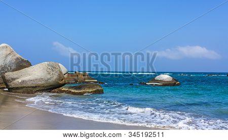 Caribbean Beach In Tayrona National Park, Colombia. Tayrona National Park Is Located In The Caribbea