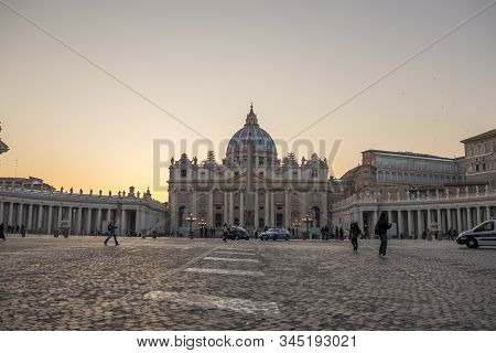 Vatican, Italy, February 2018 -the Papal Basilica Of Saint Peter In The Vatican - Basilica Papale Di