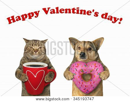 Cat With Coffee And Dog With Donut 2