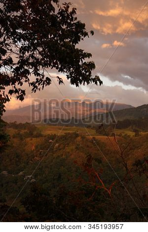 Sunset In The Middle Of The Colombian Tropics. The Sierra Nevada De Santa Marta (snowy Mountain Rang