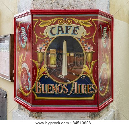 Lisbon - August 26, 2019: View Of The Romantic Cafe Buenos Aires, One Of The Preferred Restaurants I