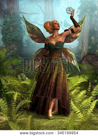 Fairy Queen Belle 3d Illustration - A Forest Fairy Tries To Figure Out How To Free A Unicorn Stallio