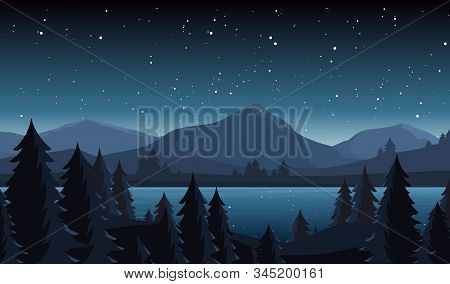 Night Lake Landscape Flat Vector Illustration. Evening Coniferous Forest Scenery With Fir Trees And