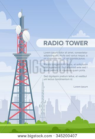 Tower Radio Flat Vector Poster Template. Telecommunication And Broadcasting Wireless Technology Info
