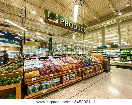 Orlando,fl/usa -1/15/20:  The Fresh Produce Aisle Of A Grocery Store With Colorful Fresh Fruits And
