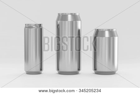 Aluminum Soda Cans Mockup, Blank Can With Copy Space For Your Content, 3d Illustration Render