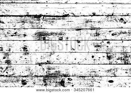 Grunge Old Wood Black Cover Template. Wooden Dry Planks Distressed Overlay Texture With Knot. Weathe