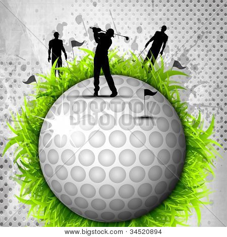 Designed golf background, Element or icon of golf ball with silhouette of players with golf stick grungy  background. EPS 10, poster