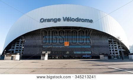 Marseille France, 28 December 2019 : Orange Velodrome Stadium Wide Angle View Home To Om Football Te