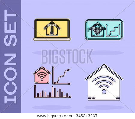 Set Smart Home With Wi-fi, Laptop With House Temperature, Smart Home With Wi-fi And Mobile Phone Wit
