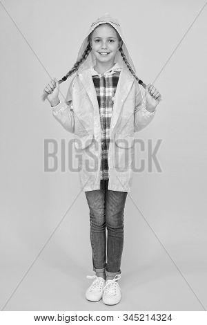 Waterproof Cloak. Waterproof Fabric For Your Comfort. Schoolgirl Hooded Raincoat Enjoy Rainy Weather