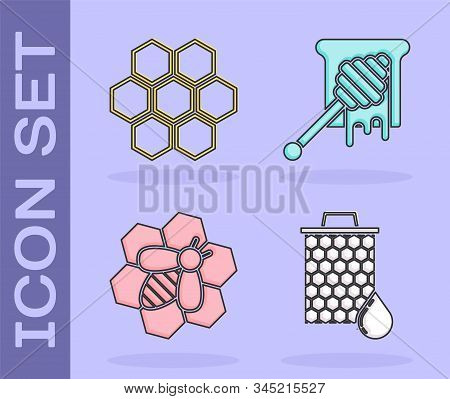 Set Honeycomb, Honeycomb, Bee And Honeycomb And Honey Dipper Stick With Dripping Honey Icon. Vector