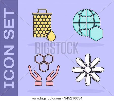 Set Flower, Honeycomb, Honeycomb And Hands And Honeycomb Map Of The World Icon. Vector
