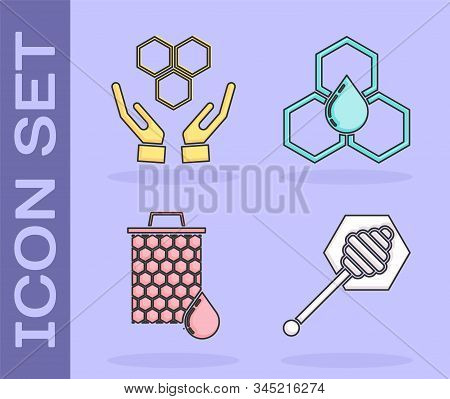 Set Honey Dipper Stick, Honeycomb And Hands, Honeycomb And Honeycomb Icon. Vector