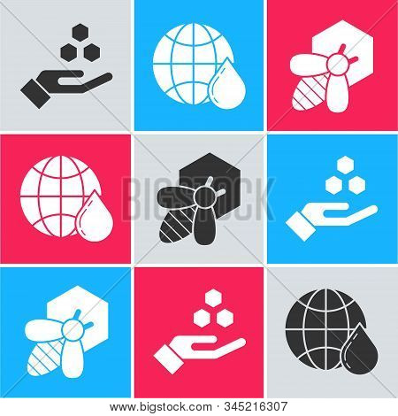Set Honeycomb And Hand, Honeycomb Map Of The World And Bee And Honeycomb Icon. Vector