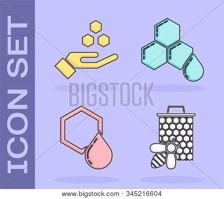 Set Bee And Honeycomb, Honeycomb And Hand, Honeycomb And Honeycomb Icon. Vector