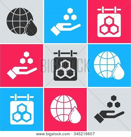 Set Honeycomb Map Of The World, Honeycomb And Hand And Hanging Sign With Honeycomb Icon. Vector