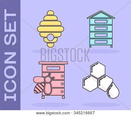 Set Honeycomb, Hive For Bees, Hive For Bees And Hive For Bees Icon. Vector