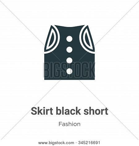 Skirt black short icon isolated on white background from fashion collection. Skirt black short icon