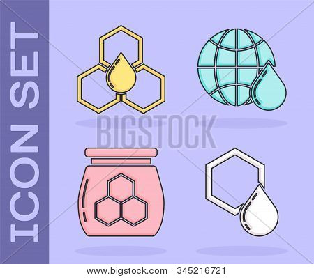 Set Honeycomb, Honeycomb, Jar Of Honey And Honeycomb Map Of The World Icon. Vector