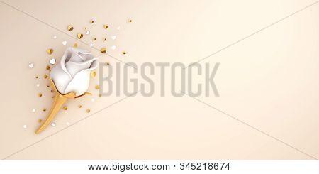 Happy Valentines Day, Valentines Day Background, White Rose Flower, Gold Confetti Glitter On Beige C