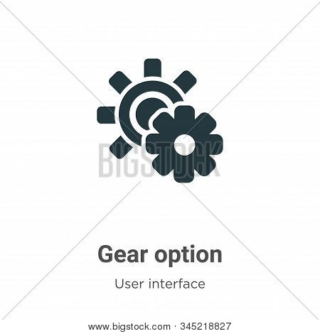 Gear option icon isolated on white background from user interface collection. Gear option icon trend