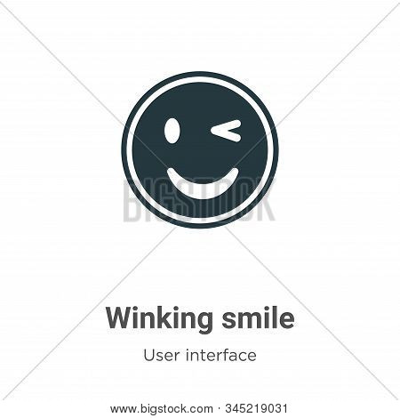 Winking smile icon isolated on white background from user interface collection. Winking smile icon t