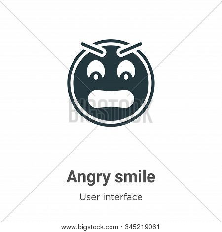 Angry smile icon isolated on white background from user interface collection. Angry smile icon trend